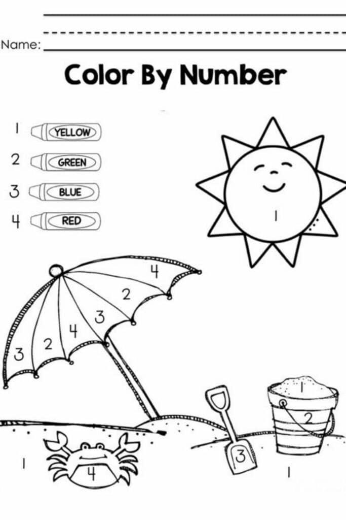 Color By Number Worksheets For Kindergarten 3