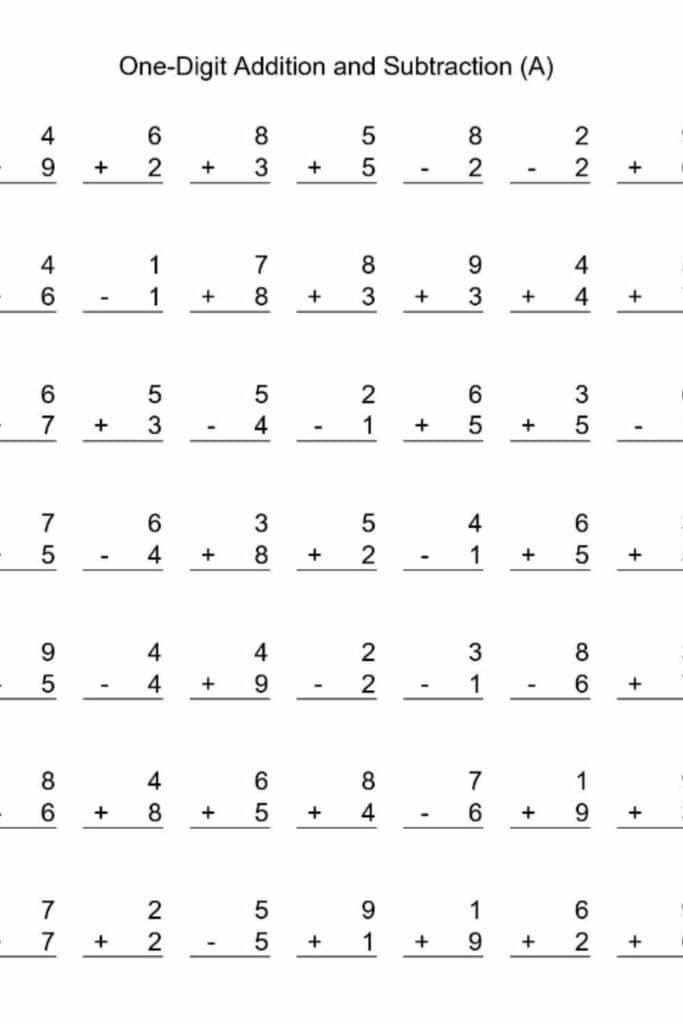 Kindergarten Math Worksheets Add and Subtract 1