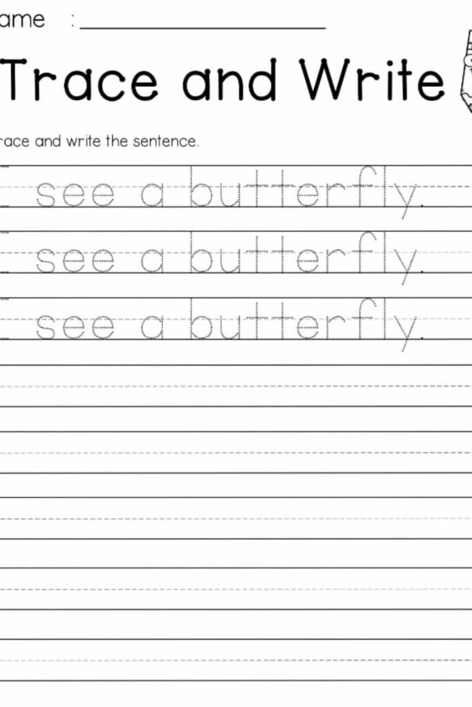 Kindergarten Writing Sentences Worksheets 5