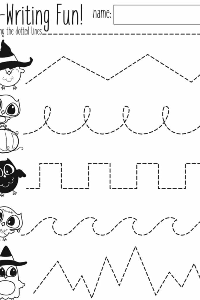 Making Halloween Preschool worksheets 1