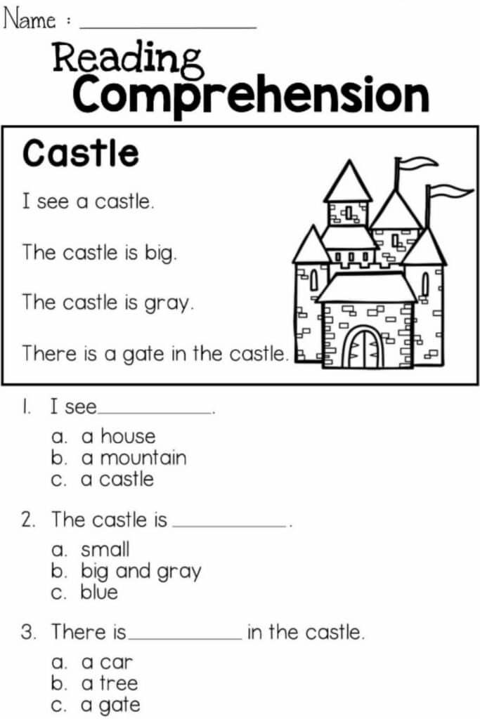 Reading Comprehension Kindergarten Worksheets 3