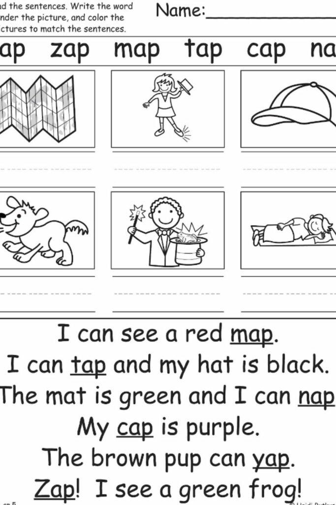 Reading Worksheets For Kindergarten 3