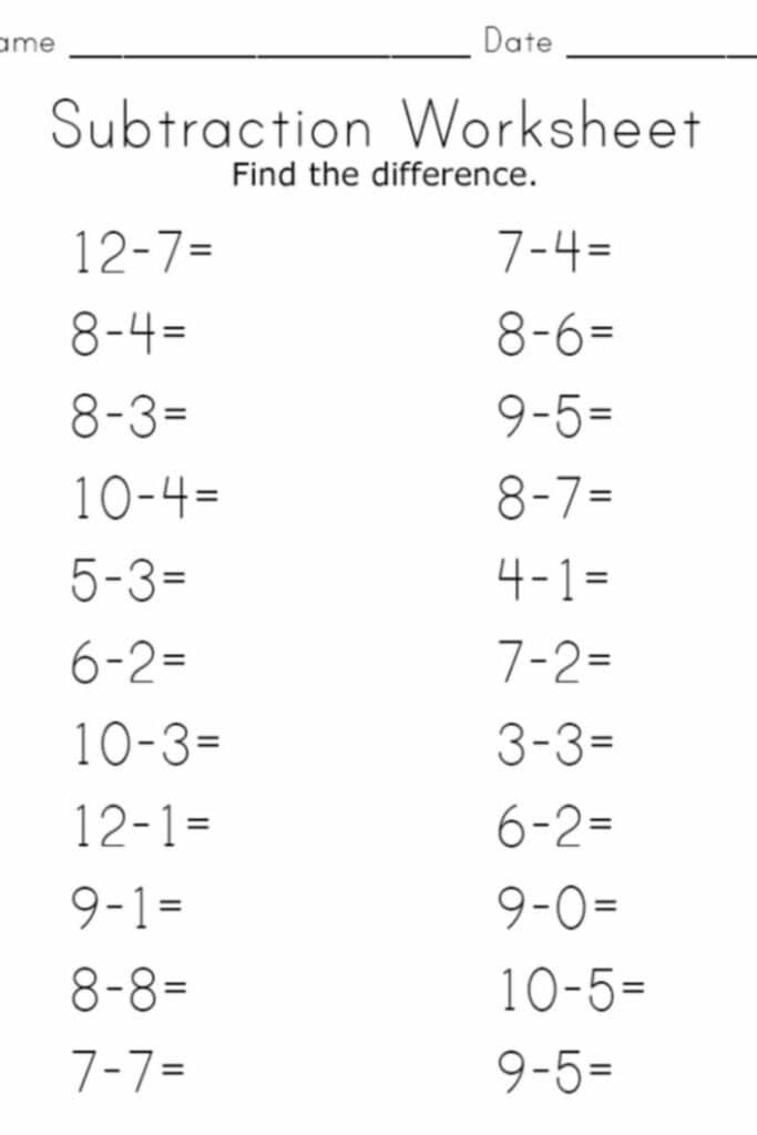 Subtraction Worksheets For Kindergarten 5