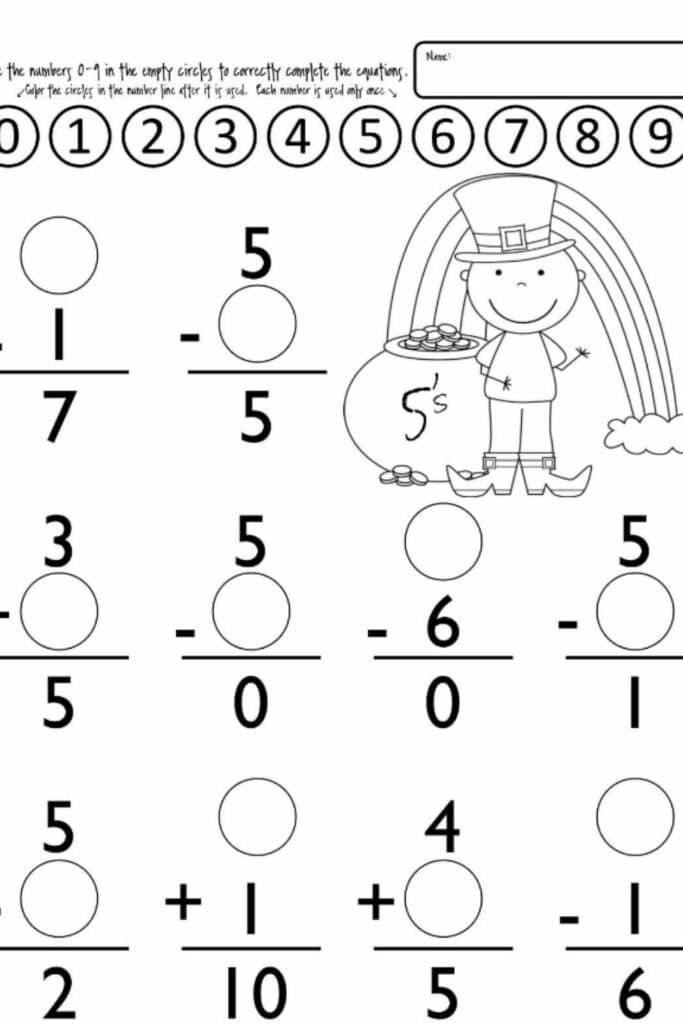 Worksheets For Kindergarten Students 5