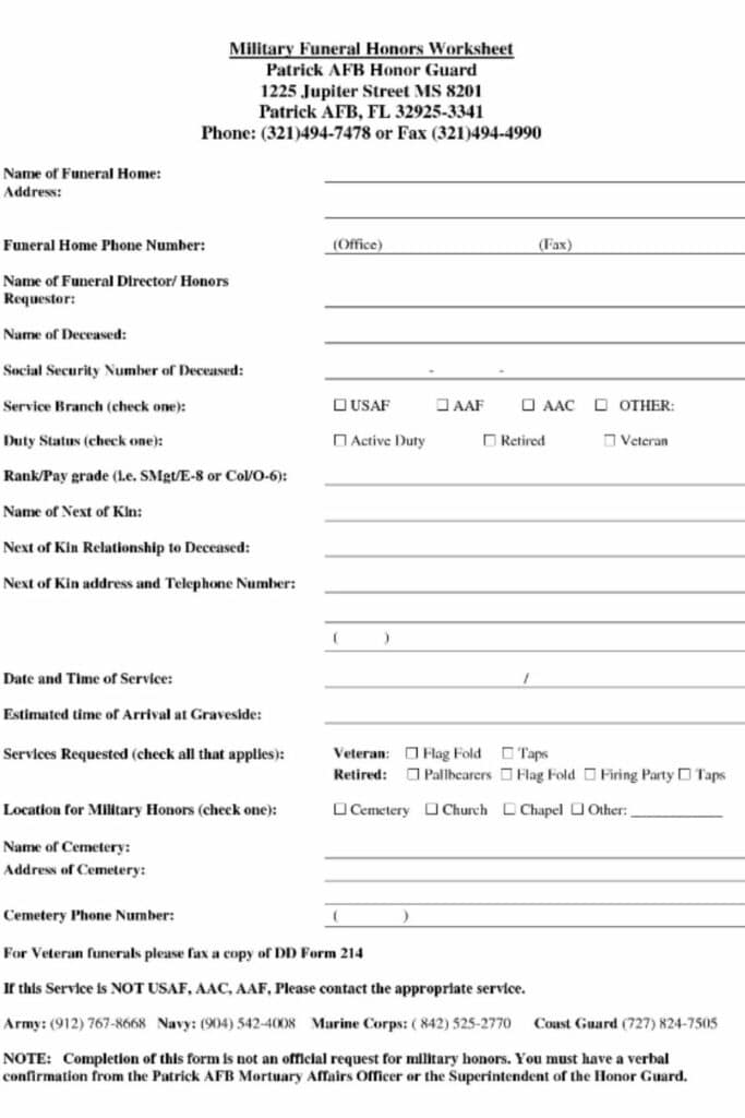 A Funeral Planning Worksheet Will Organize the Funeral Process 3