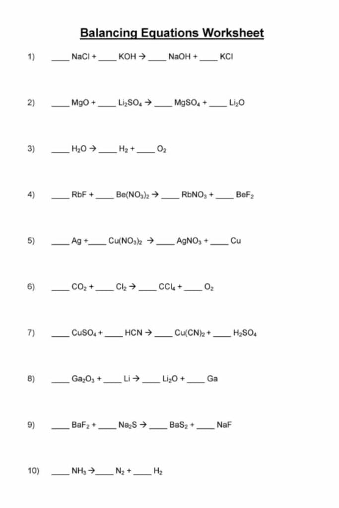 Balancing Equations Practice Worksheet Answer Key 1