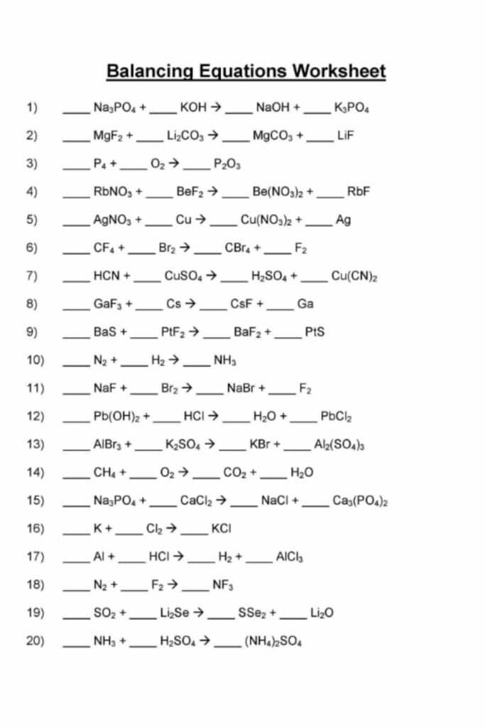 Balancing Equations Practice Worksheet Answer Key 3
