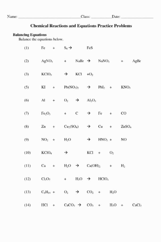 Balancing Equations Practice Worksheet Answer Key 5