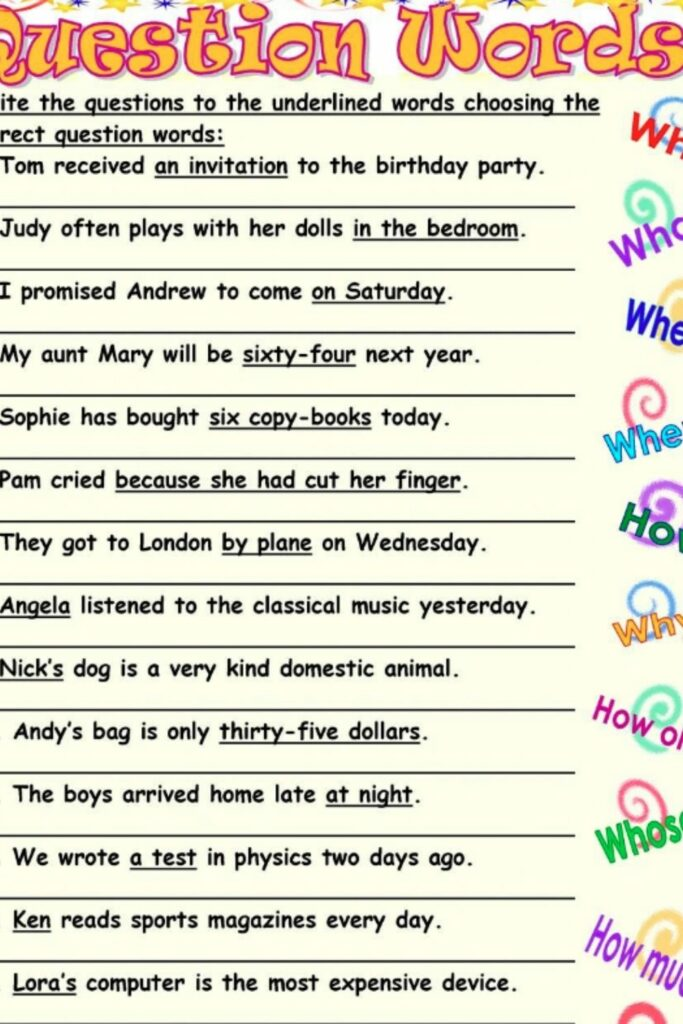 Biography Questions Worksheet 5