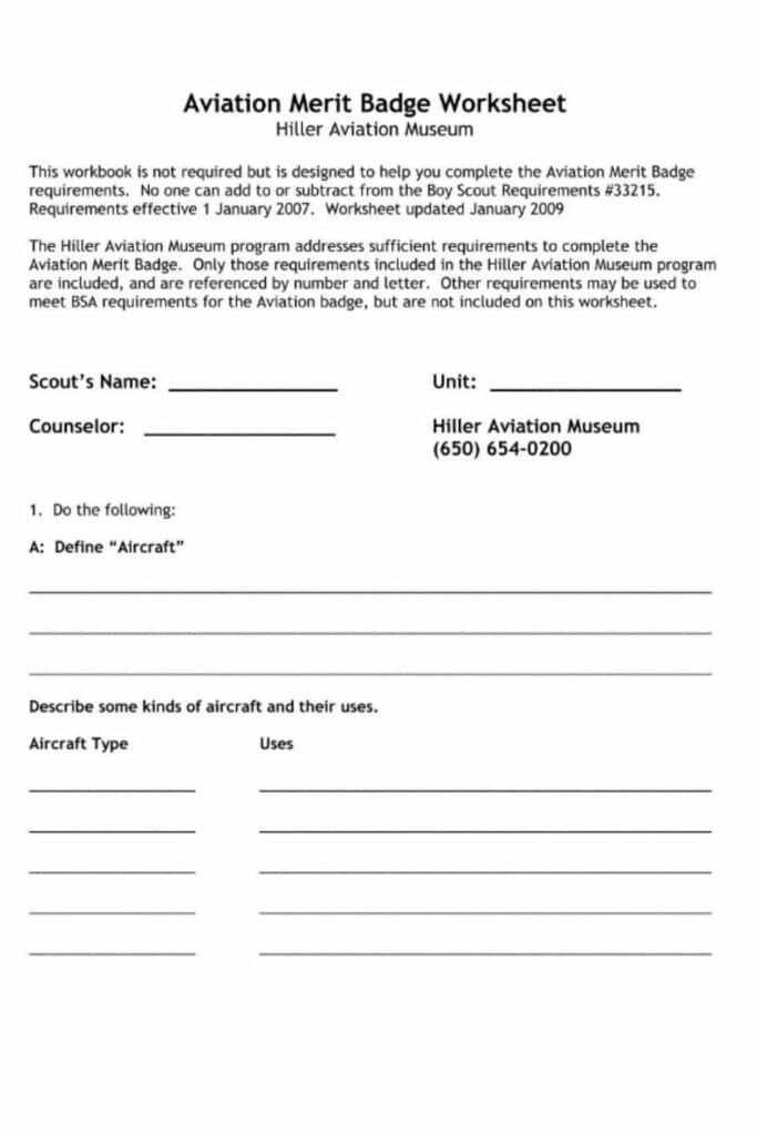 Cooking Merit Badge Worksheets 1