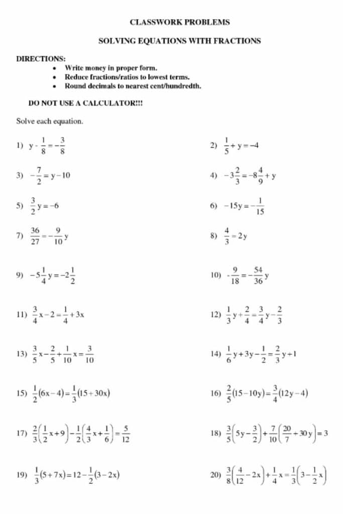 Equations With Fractions Worksheet 1