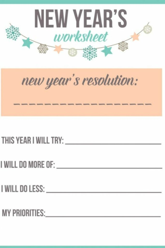 How to Make the Most of Your New Year's Resolution Worksheet This Year 5