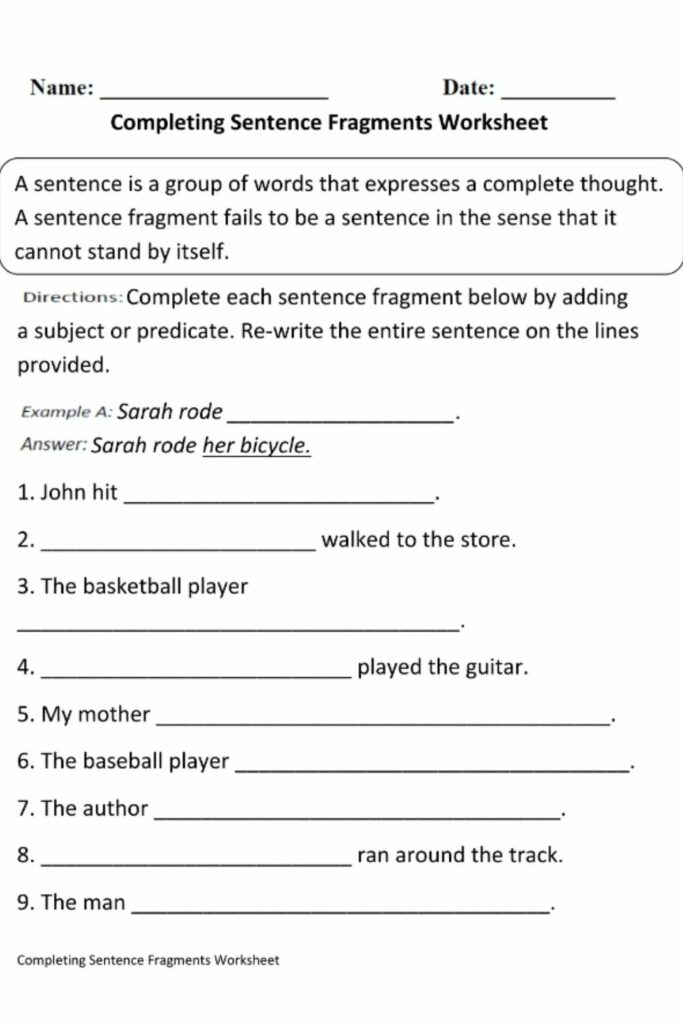 How to Use a Worksheet With Answers For Sentence Fragments and Run-ons 1