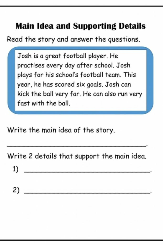 Identifying The Main Idea With First-Gradient Worksheets 3