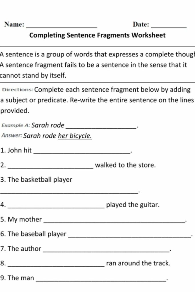 Maximize Your Working Space With A Sentence Or Fragment Worksheet 1