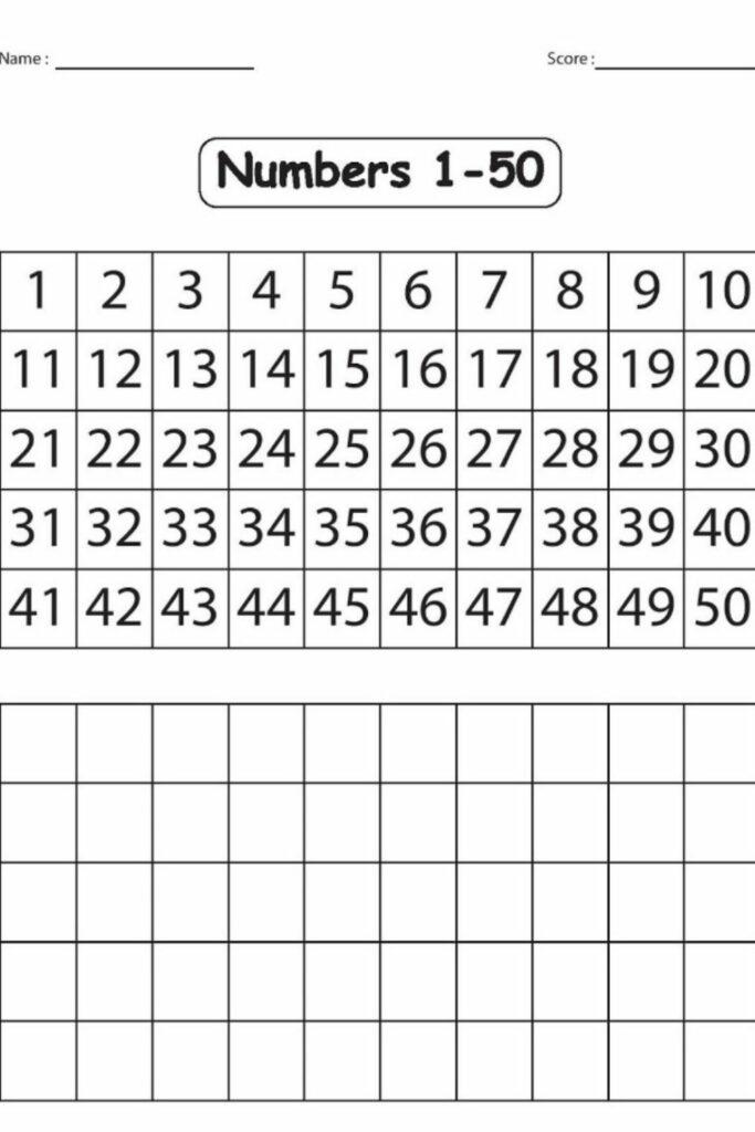 Number 1-50 Worksheet 5