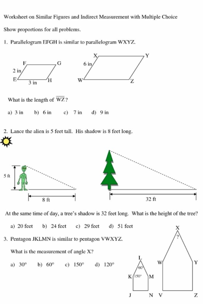 Problem-solving With Similar Figures Worksheet Answers 3