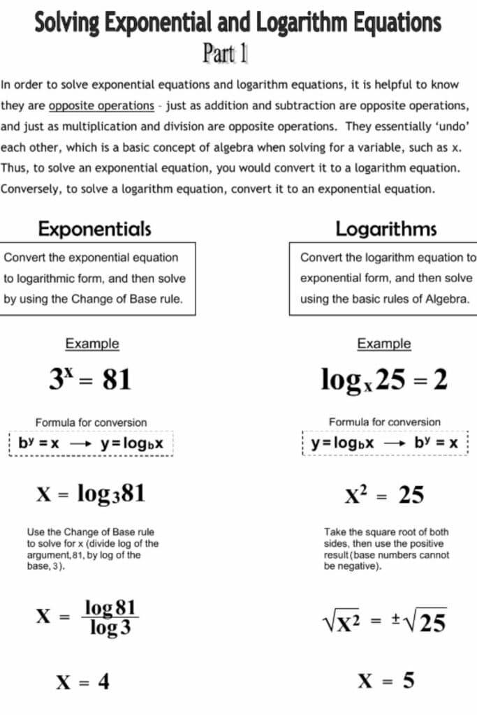 Solving Exponential With Logs Worksheet 5