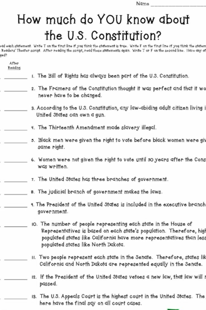 The US Constitution Worksheet 1