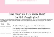 The US Constitution Worksheet 2