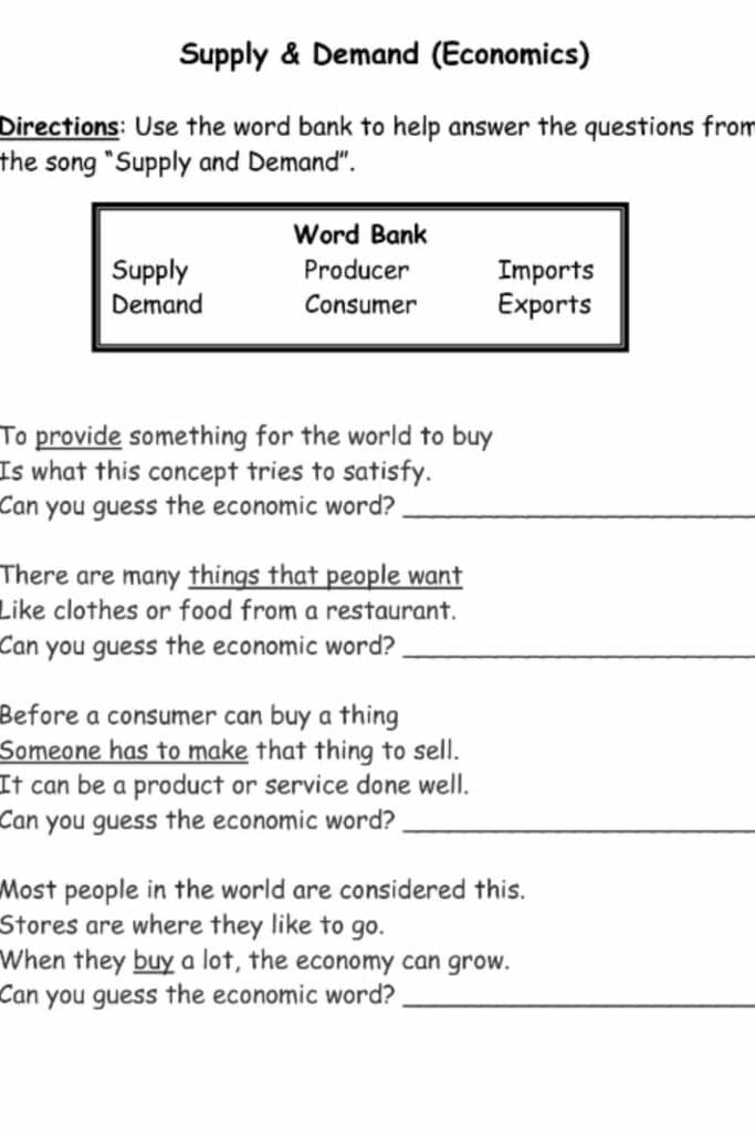 The Use of Supply and Demand Worksheet in Education 3