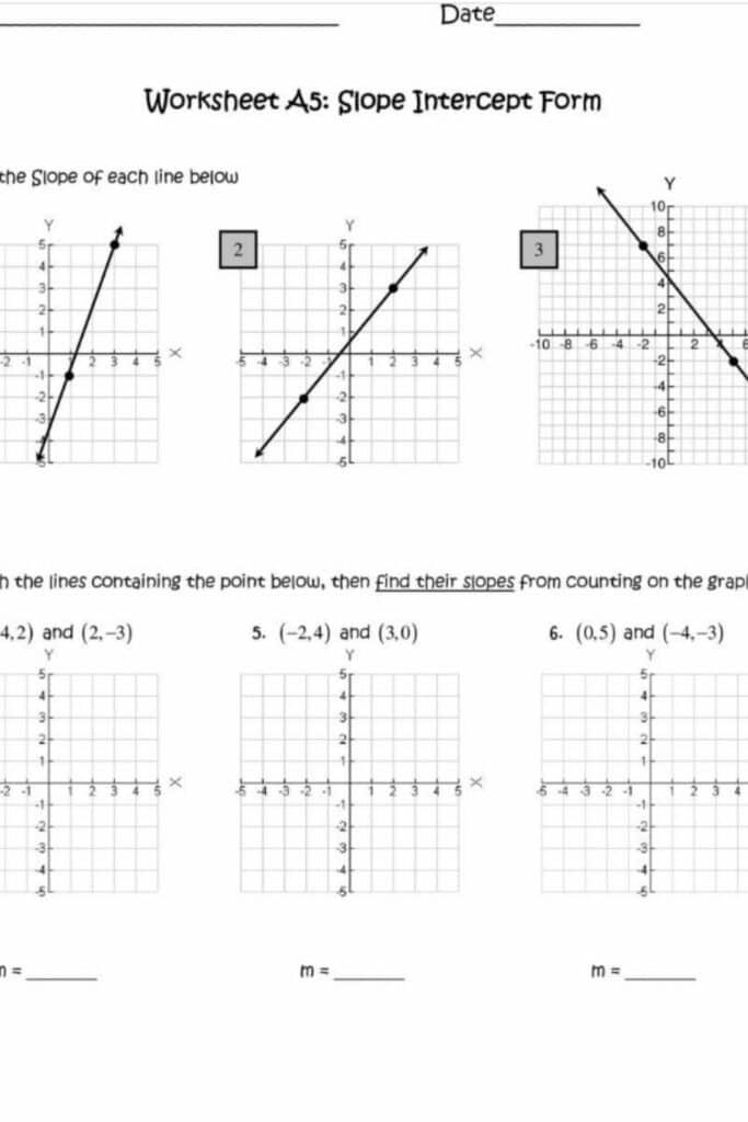 The formula of a Line Worksheets Point-Slope Develop 1