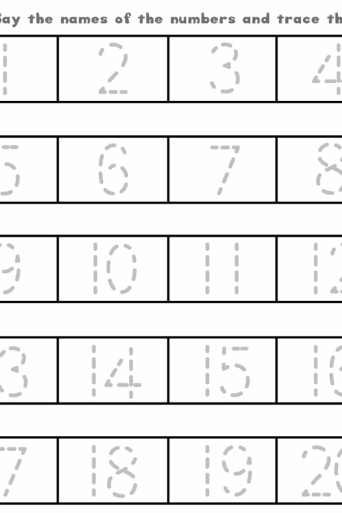 Tracing Numbers Worksheets 1-20 3