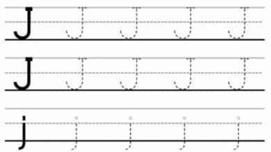 Letter Tracing Worksheets A - J
