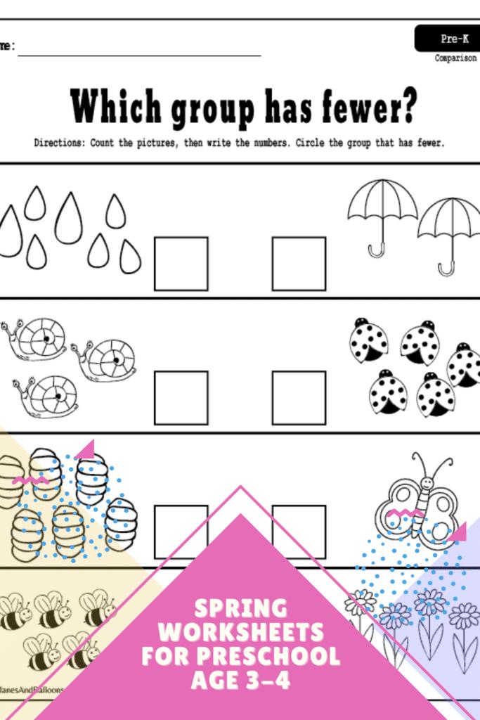 Spring Math Worksheets for Preschoolers