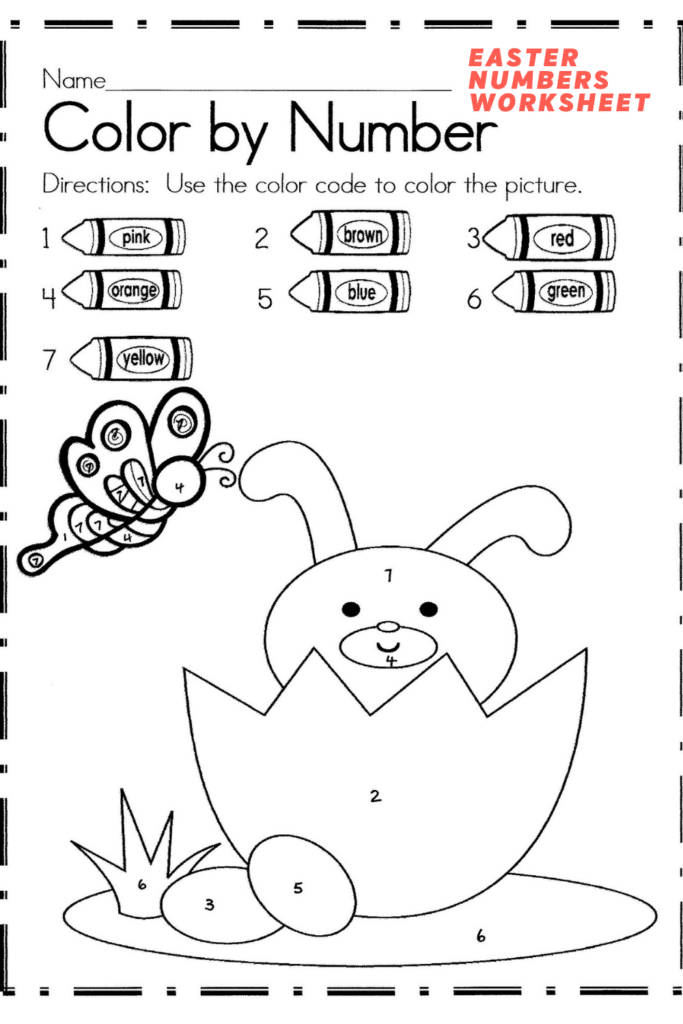 Easter Colour by Numbers Worksheet