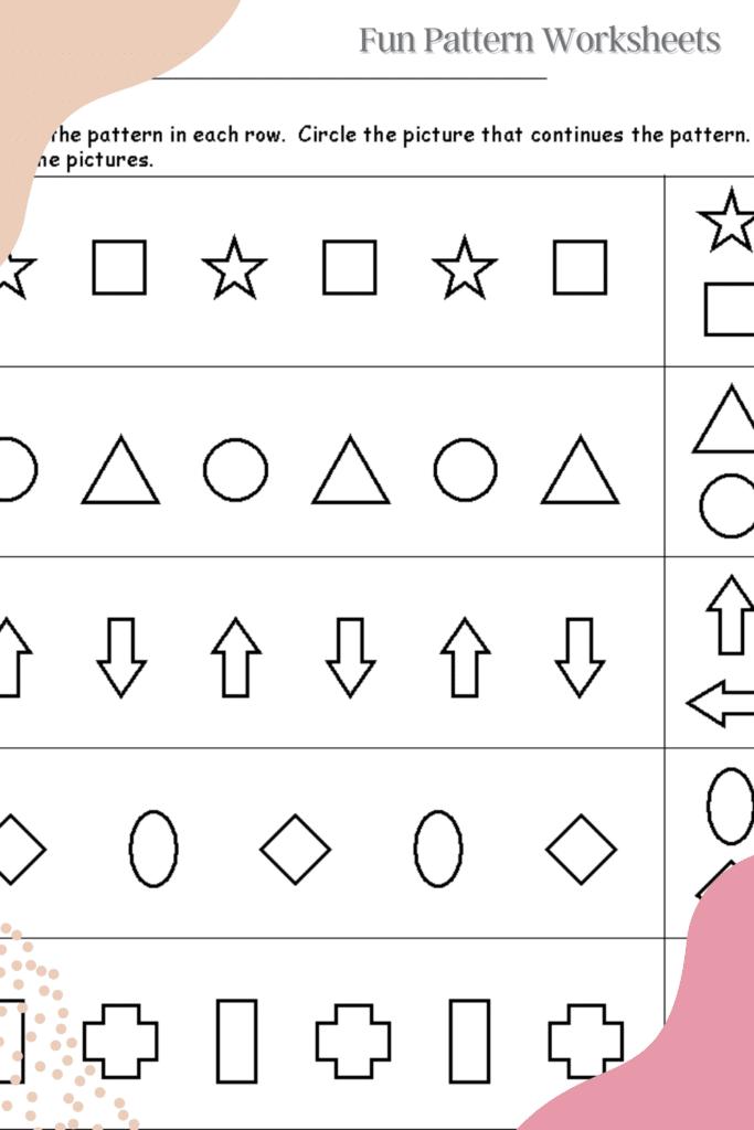 Pattern for Kindergarten Worksheets
