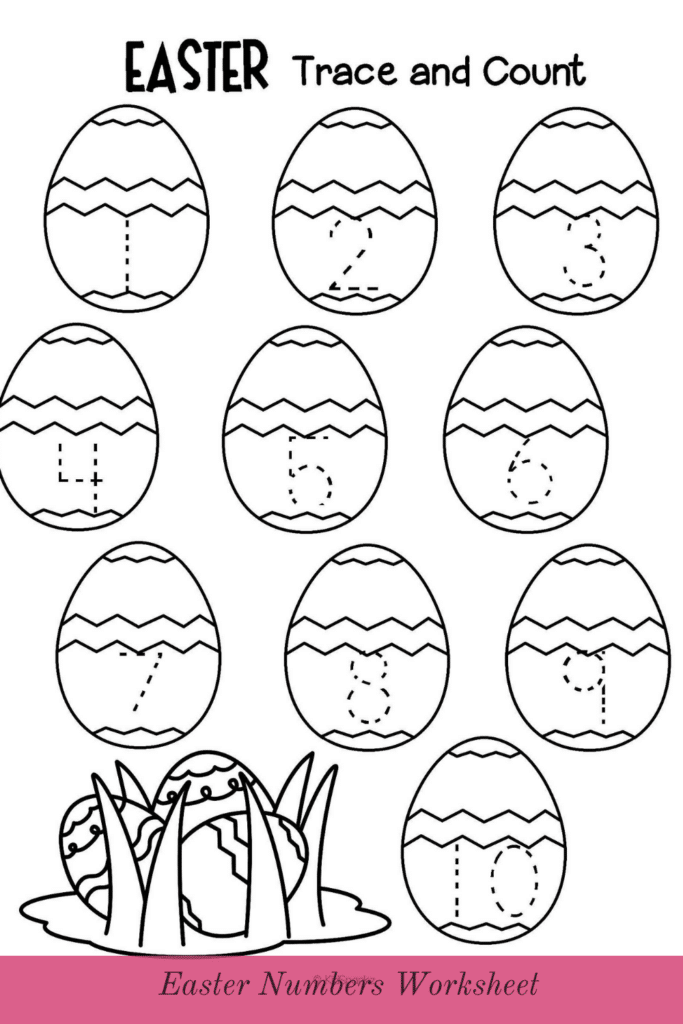 Easter Numbers Trace Worksheet