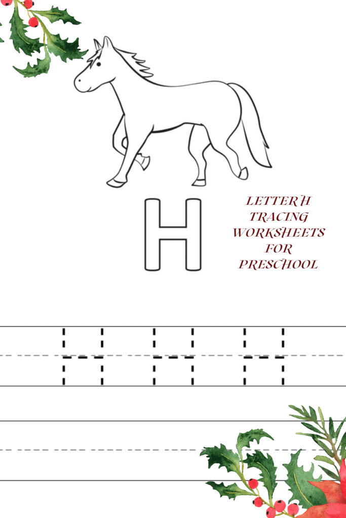 Capital Letter H Tracing Worksheets