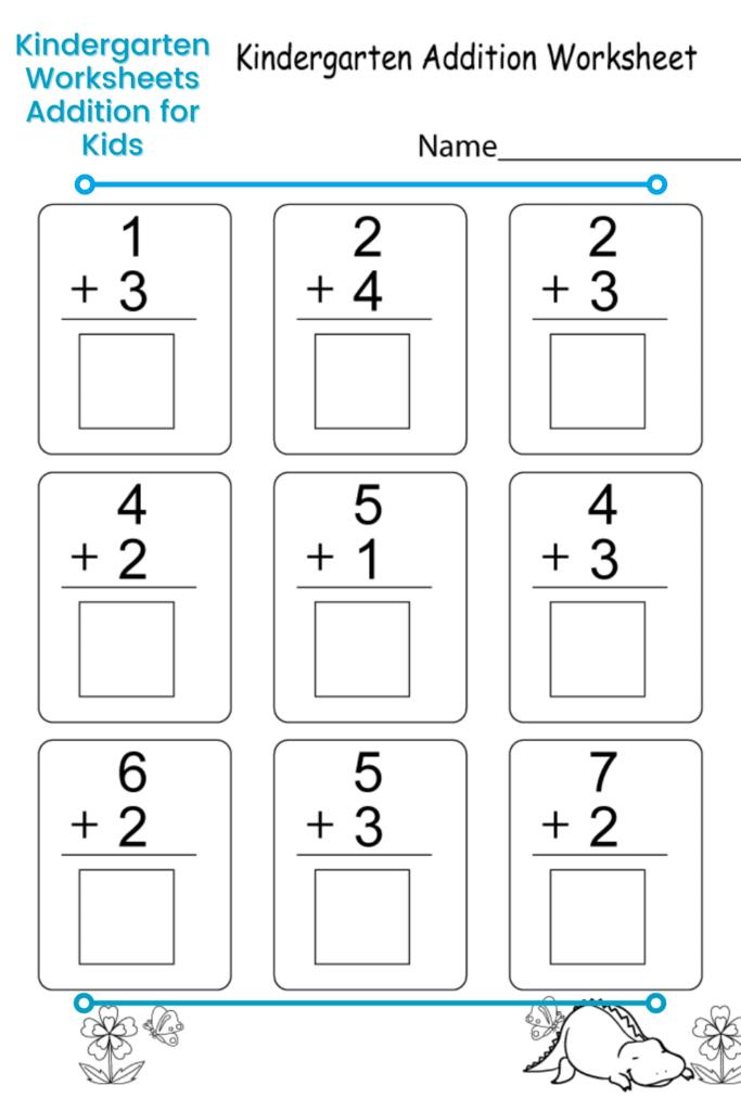 Worksheet for Kindergarten Math