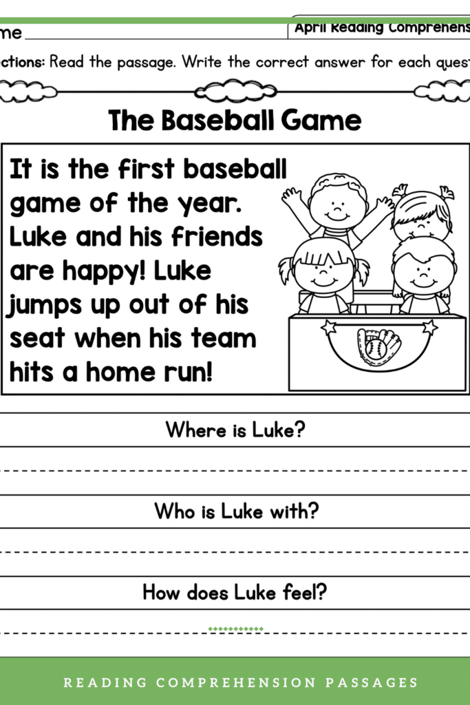 Reading Comprehension Worksheets Questions