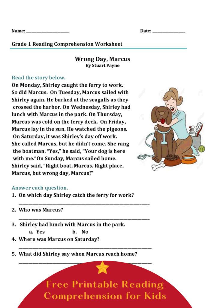 Reading Comprehension Worksheet for 1st Grade