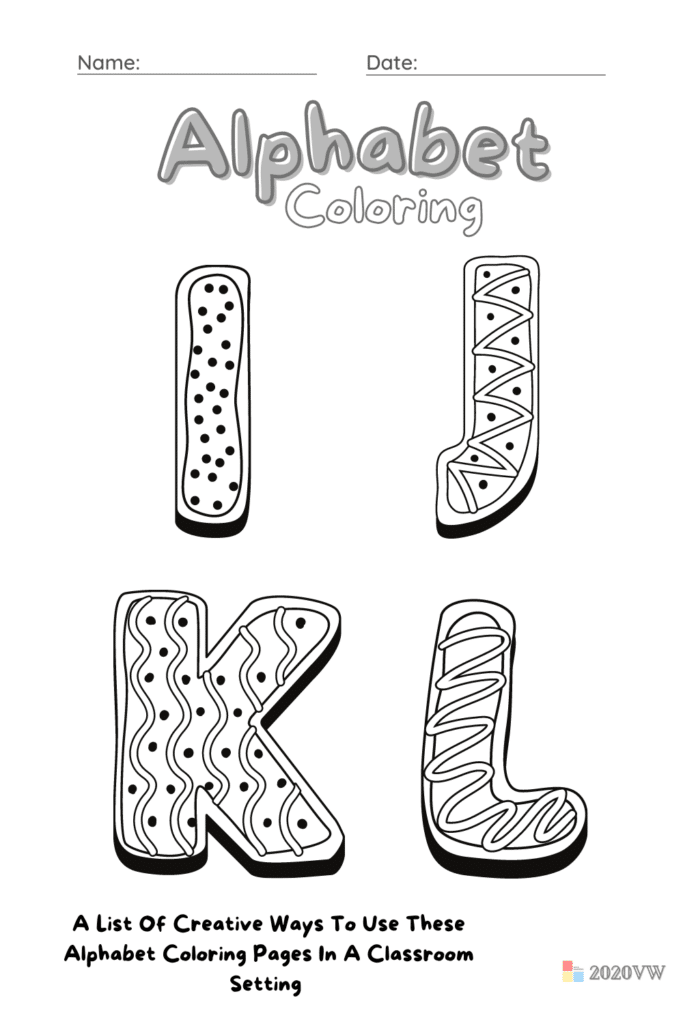A List Of Creative Ways To Use These Alphabet Coloring Pages In A Classroom Setting