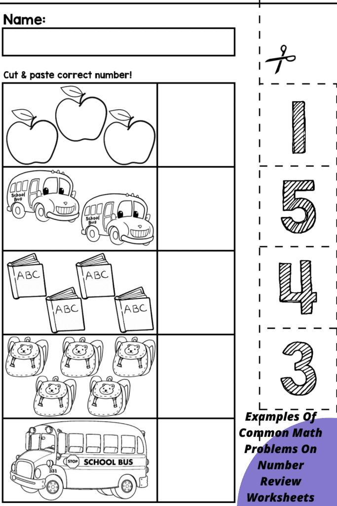 Examples Of Common Math Problems On Number Review Worksheets