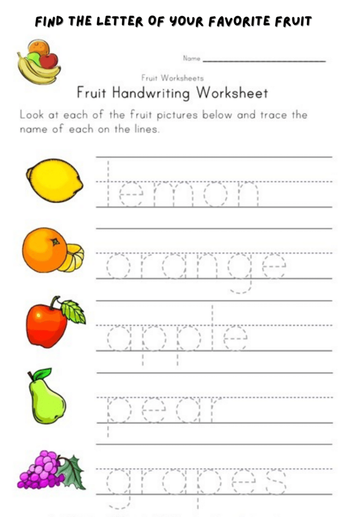 Find The Letter Of Your Favorite Fruit