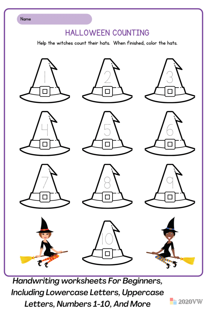 Handwriting worksheets For Beginners, Including Lowercase Letters, Uppercase Letters, Numbers 1-10, And More