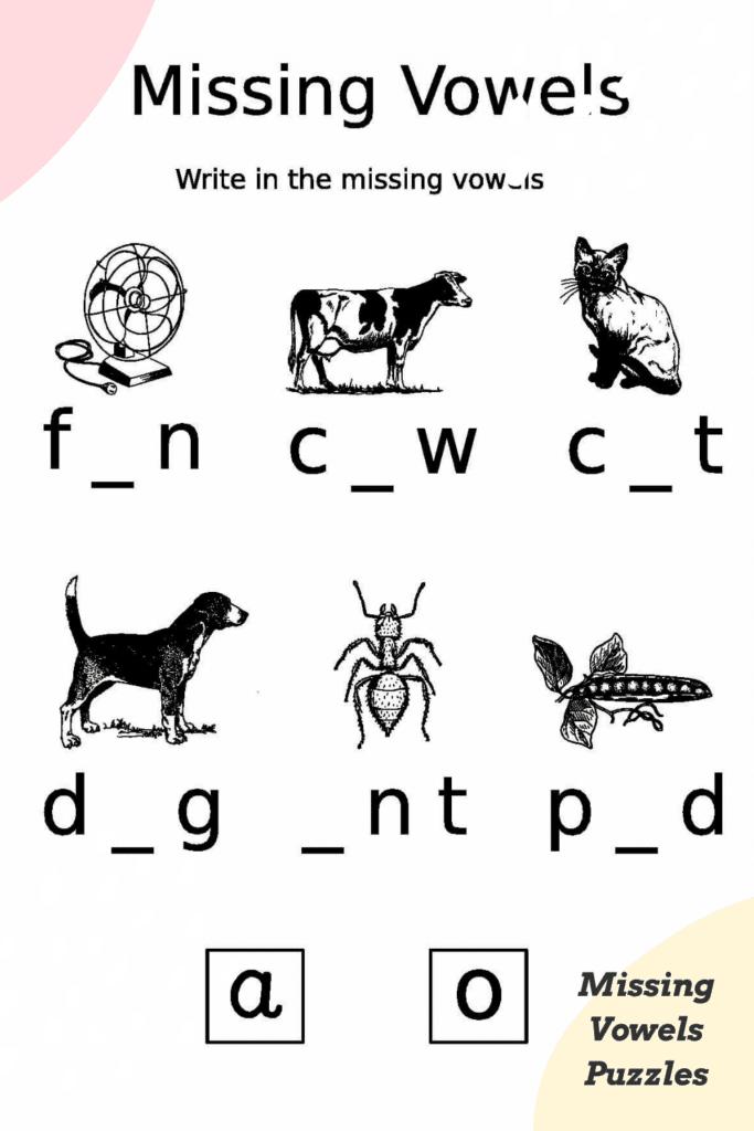 Missing Vowels Puzzles