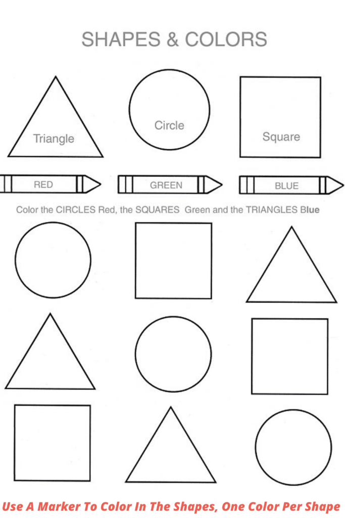 Use A Marker To Color In The Shapes, One Color Per Shape.