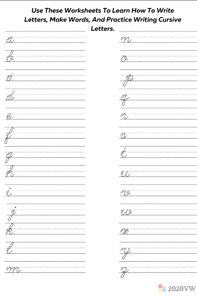 Use These Worksheets To Learn How To Write Letters, Make Words, And Practice Writing Cursive Letters.