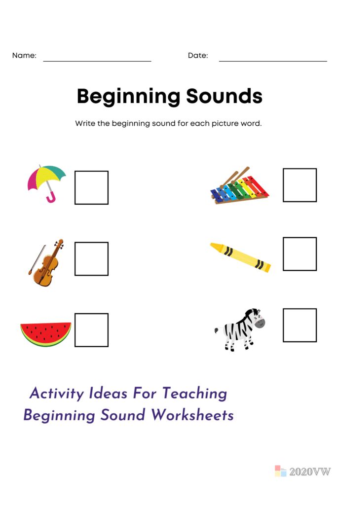 Activity Ideas For Teaching Beginning Sound Worksheets