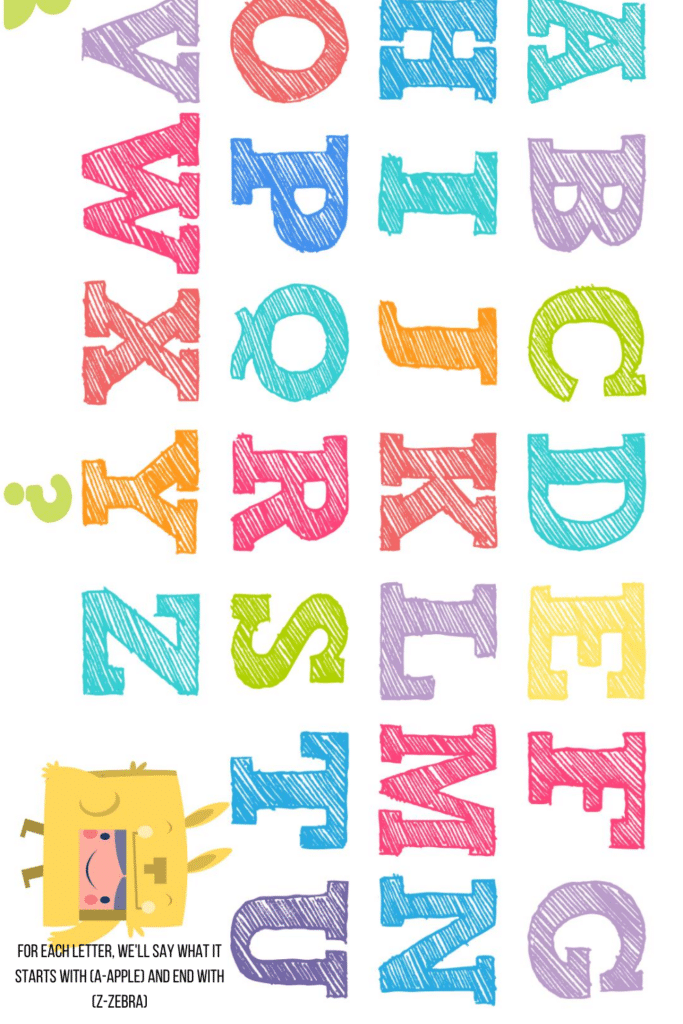 For each letter, we'll say what it starts with (A-Apple) and end with (Z-Zebra)