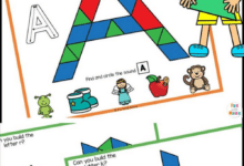 Free Printable Uppercase Alphabet Pattern Block Mats for kids