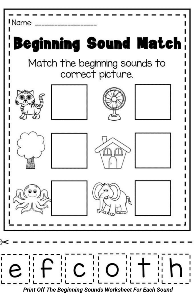 Print Off The Beginning Sounds Worksheet For Each Sound
