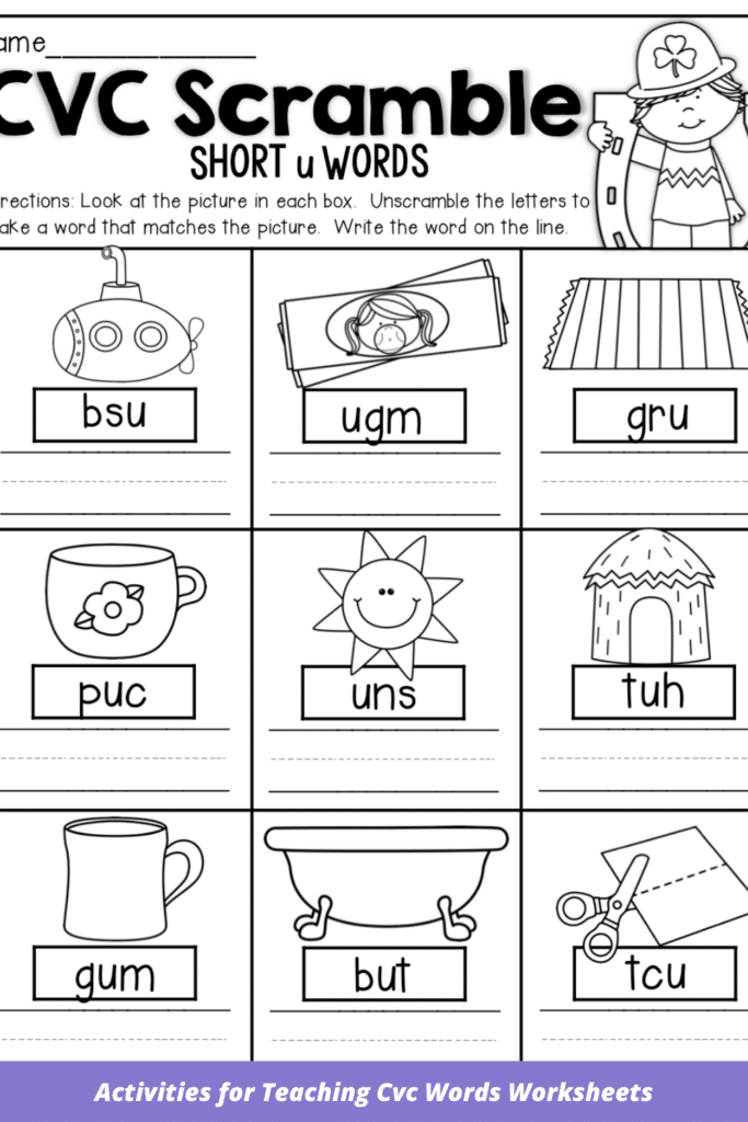 Activities for Teaching Cvc Words Worksheets